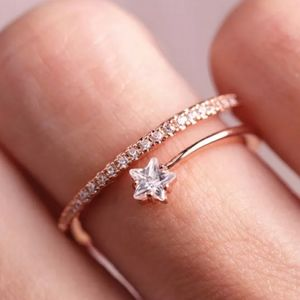 NEW ROSE GOLD PLATED DIAMOND STAR RESIZABLE RING